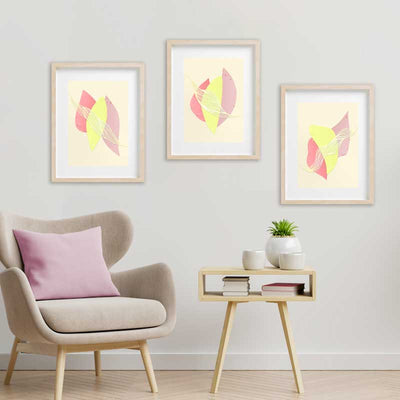 Set of 3 Summer Fruit abstract art prints by Claude & Leighton - wall art in summer pastel colours