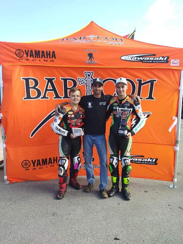 """Dustin """"The Ghilliman"""" Apgar with Dominic Doyle and Cooper McDonald of Bartcon Racing"""