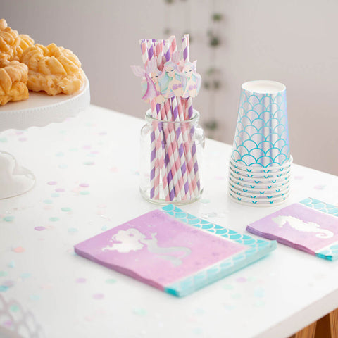 Mermaid napkins, straws and cups