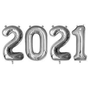 Silver Giant Foil Number Balloons - 2021 - The Party Room