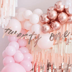 21st Rose Gold Happy Birthday Banner Bunting - The Party Room