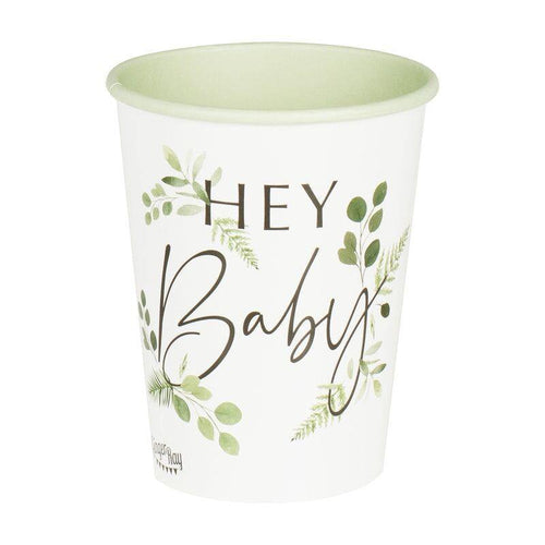 Botanical Hey Baby Shower Cups - The Party Room