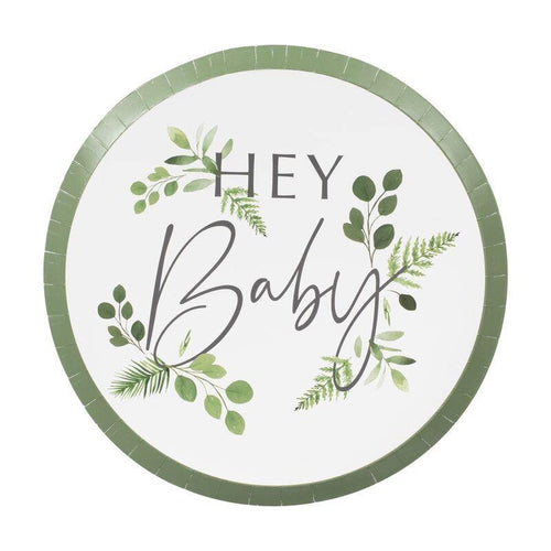 Botanical Hey Baby Plates - The Party Room