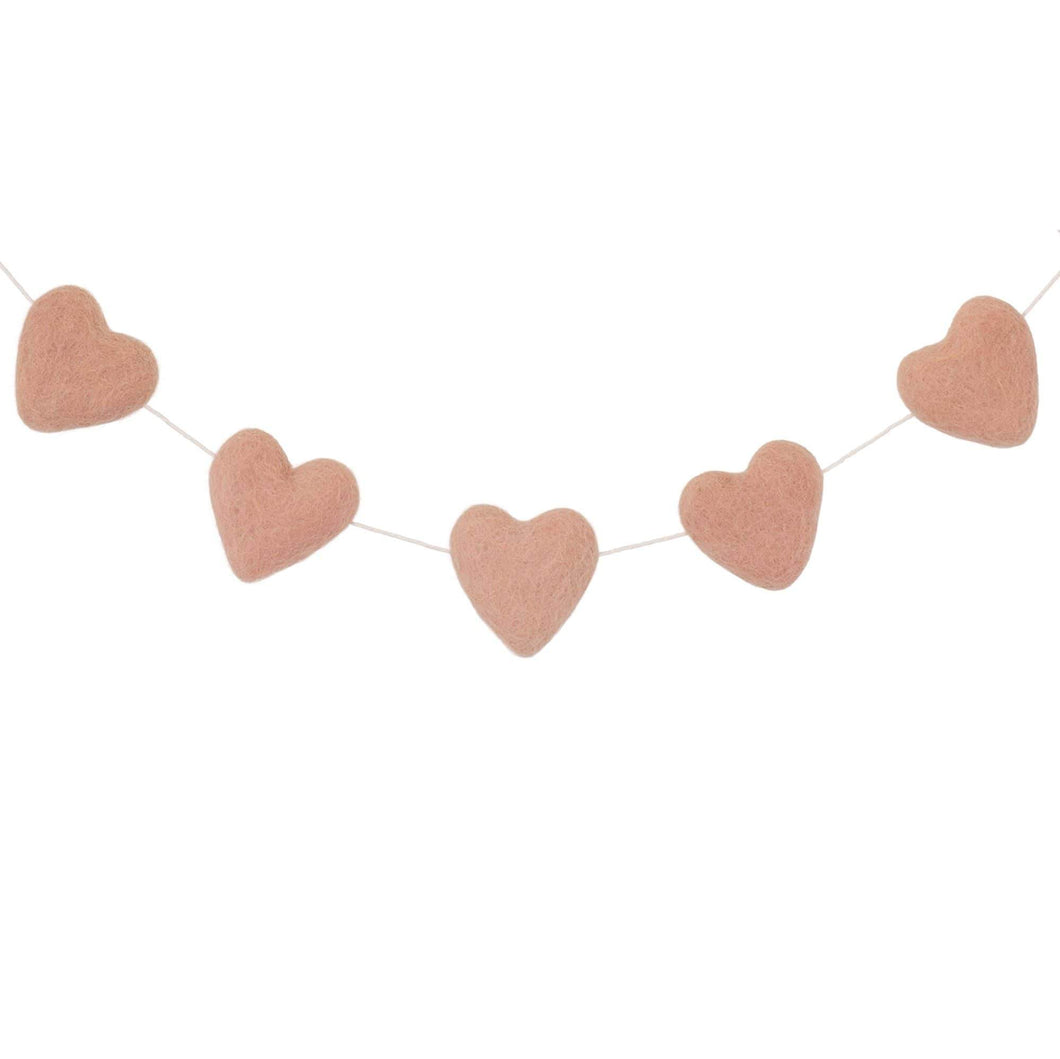 Felt Heart Garland | Blush Pink - The Party Room