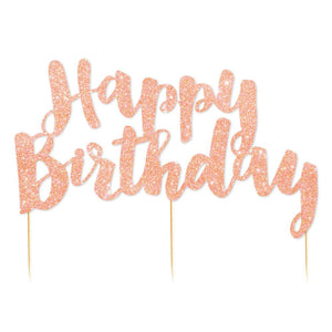 Rose Gold Glitter 'Happy Birthday' Cake Topper - The Party Room