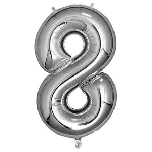 Silver Giant Foil Number Balloon - 8