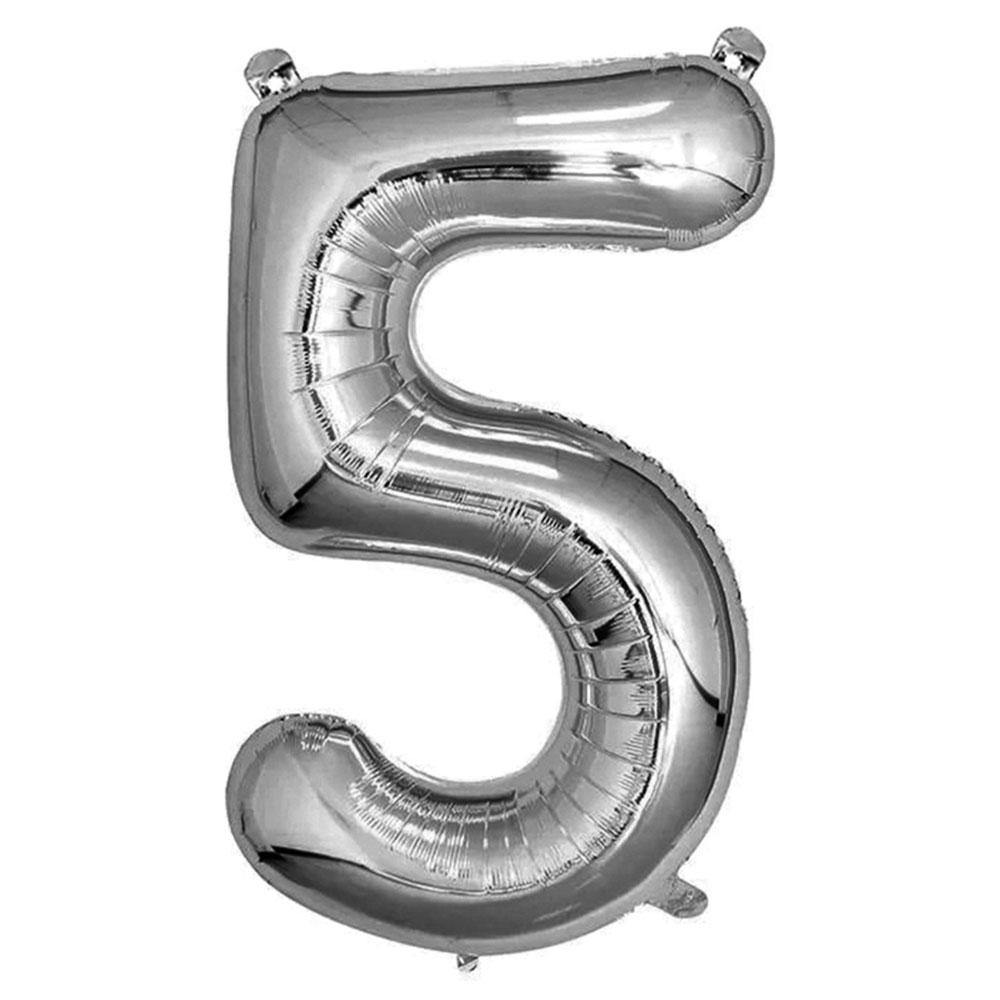 Silver Giant Foil Number Balloon - 5