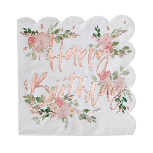 Ditsy Floral Happy Birthday Napkins - The Party Room