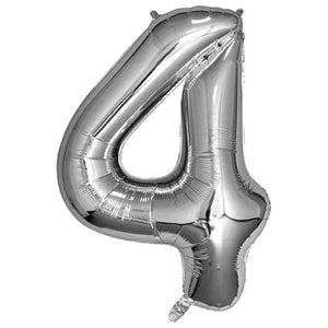 Silver Giant Foil Number Balloon - 4 - The Party Room