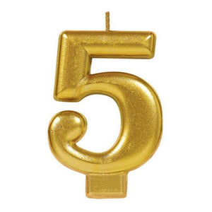 Metallic Gold Candle - Number 5 - The Party Room