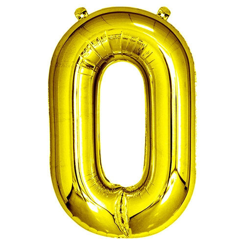 Gold Giant Foil Number Balloon - 0 - The Party Room