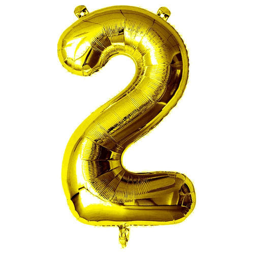 Gold Giant Foil Number Balloon - 2 - The Party Room