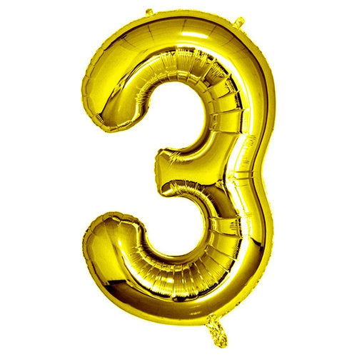 Gold Giant Foil Number Balloon - 3 - The Party Room