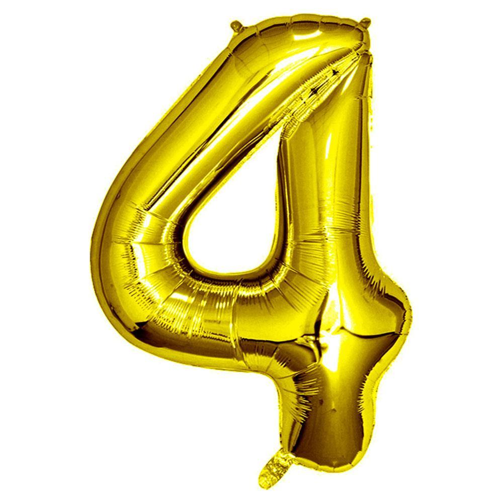 Gold Giant Foil Number Balloon - 4 - The Party Room