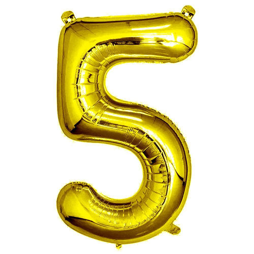 Gold Giant Foil Number Balloon - 5 - The Party Room