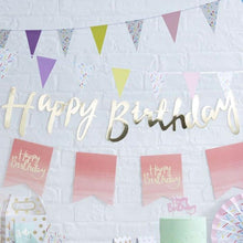 Load image into Gallery viewer, Gold Happy Birthday Bunting - The Party Room
