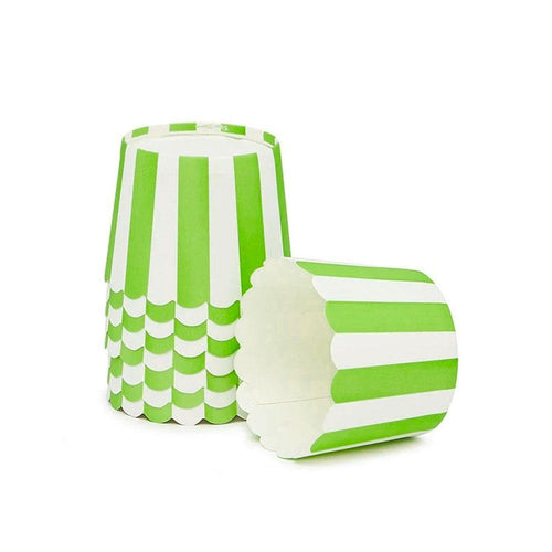 Lime Green Stripe Cupcake Wrappers - The Party Room