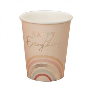Happy Everything Natural Rainbow Birthday Party Cups - The Party Room