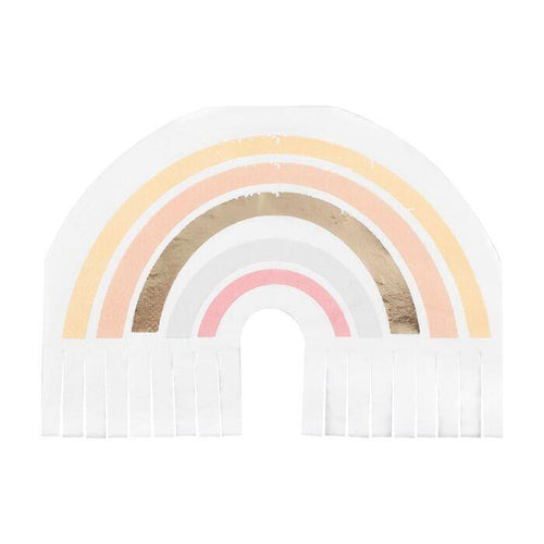 Gold Foiled Natural Rainbow Fringe Napkins - The Party Room