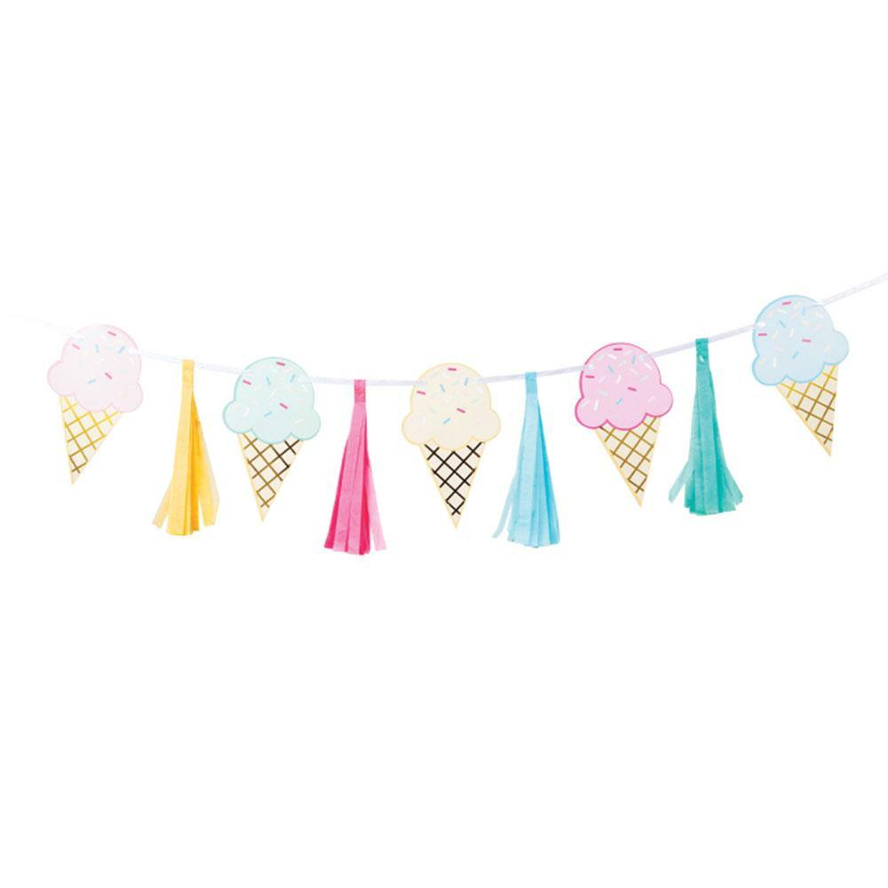 Ice Cream Party Tassel Ribbon Banner - The Party Room