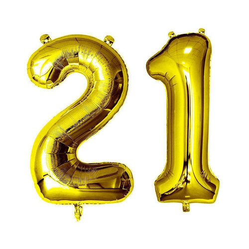 Gold Giant Foil Number Balloons - 21 - The Party Room