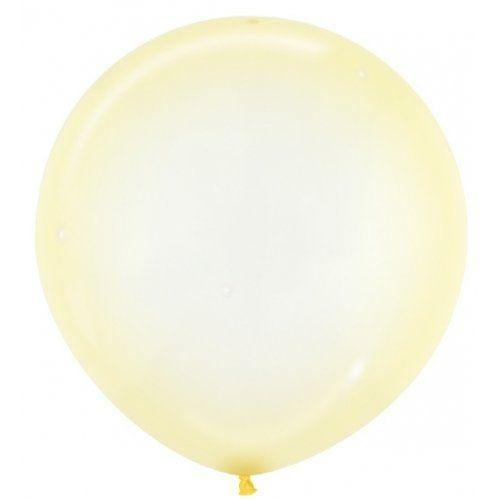 Large 60cm Crystal Pastel Yellow Balloons - The Party Room