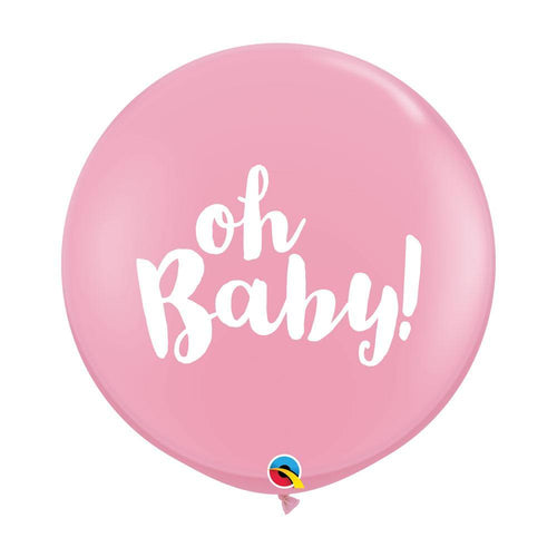 Large Oh Baby Pink Balloons