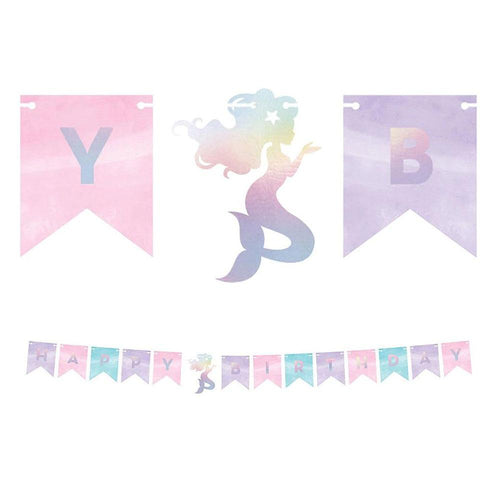 Mermaid Shine Iridescent Happy Birthday Banner - The Party Room