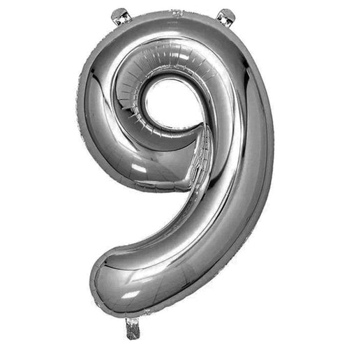 Silver Giant Foil Number Balloon - 9 - The Party Room