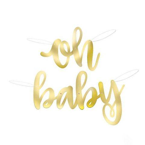 'Oh Baby' Gold Foil Banner