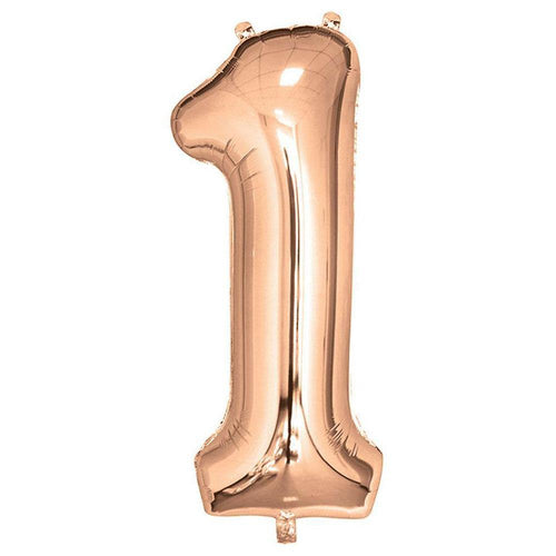 Rose Gold Giant Foil Number Balloon - 1 - The Party Room