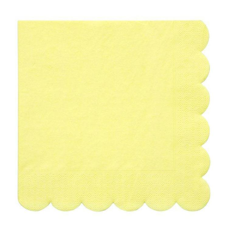Pale Yellow Scalloped Napkins - The Party Room