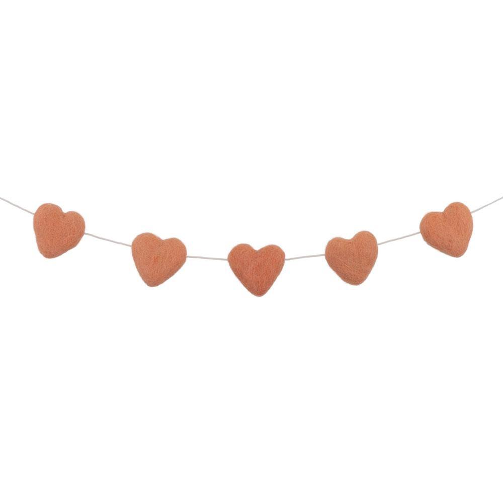 Felt Heart Garland | Peach - The Party Room