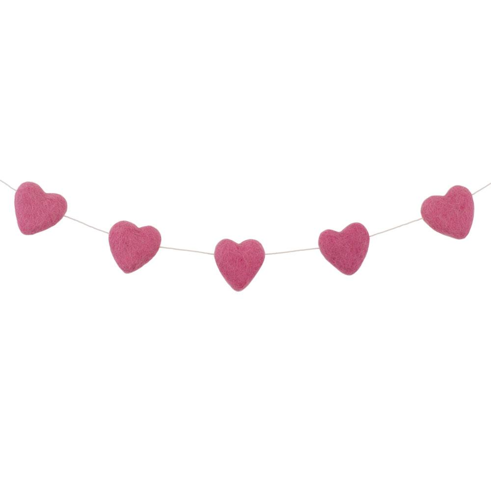 Felt Heart Garland | Pink - The Party Room