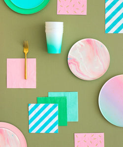 Pink Marble Plates - The Party Room