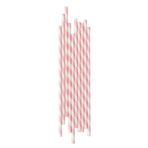 Pink Striped Paper Straws - The Party Room