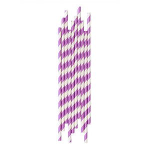 Purple Striped Paper Straws - The Party Room