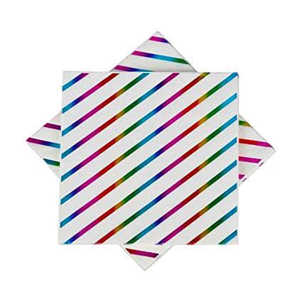 Rainbow Striped Napkins - The Party Room