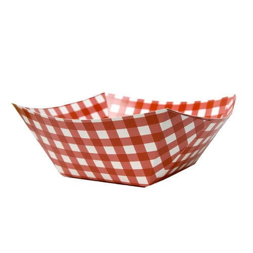Red Gingham Square Paper Bowl - The Party Room