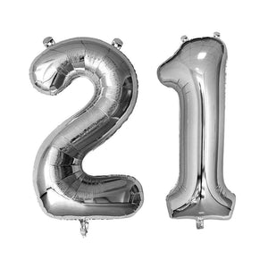 Silver Giant Foil Number Balloons - 21 - The Party Room