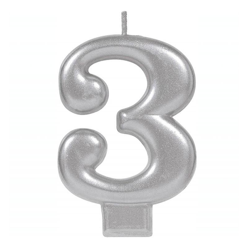 Metallic Silver Candle - Number 3 - The Party Room