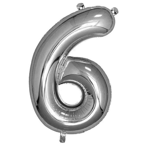 Silver Giant Foil Number Balloon - 6 - The Party Room