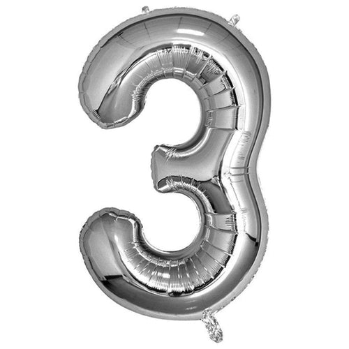 Silver Giant Foil Number Balloon - 3 - The Party Room