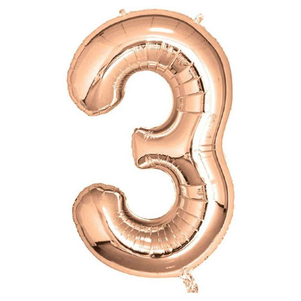 Rose Gold Giant Foil Number Balloon - 3