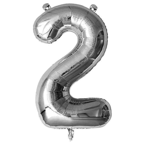 Silver Giant Foil Number Balloon - 2 - The Party Room