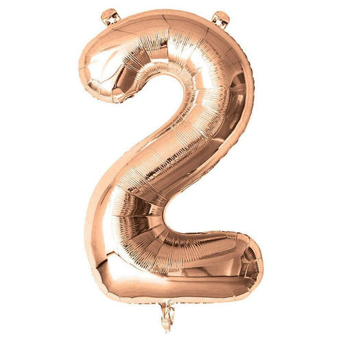 Rose Gold Giant Foil Number Balloon - 2 - The Party Room