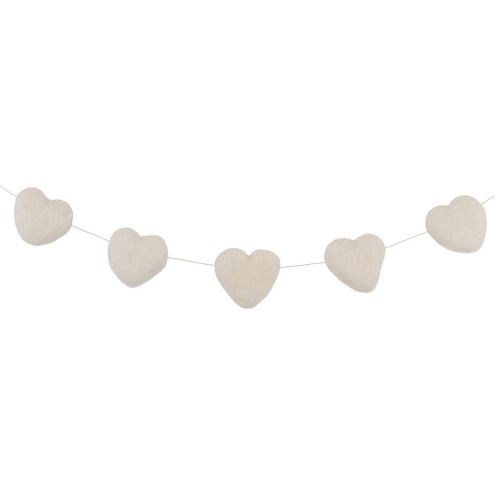 Felt Heart Garland | White - The Party Room