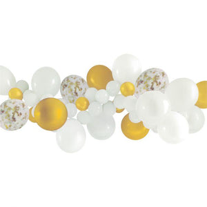 White and Gold Balloon Garland Kit - The Party Room
