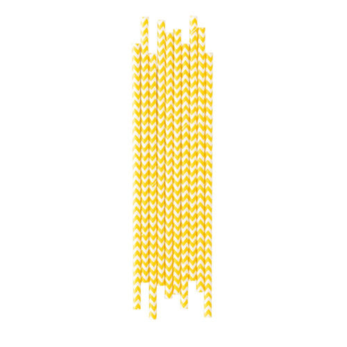 Yellow Chevron Paper Straws - The Party Room