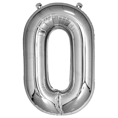 Silver Giant Foil Number Balloon - 0 - The Party Room